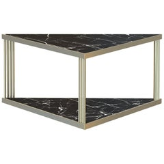 Trecento Contemporary Center Table Handmade & Customizable in Marble and Brass