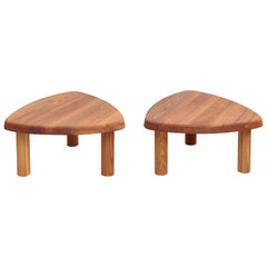 Pair of Pierre Chapo T23 Solid Elmwood Formalist French Side Table