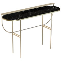 Eva Contemporary Console/Vanity Handmade & Customizable in Marble and Brass