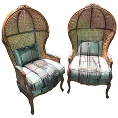Louis XV Style Custom Crafted Dome Chairs, Pair