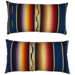 Pair of Vintage Decorative Saltillo Blanket Pillows