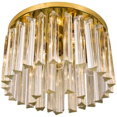 Kalmar Two-Tier Murano Glass Flush Mount with Venini Triedri Crystals
