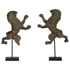 Pair of Small French 18th Century Lion Fragments