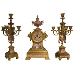 19th Century, Sevre-Style Clock Set, France