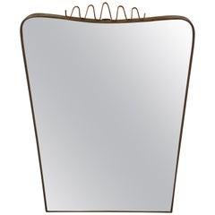 Italian Brass and Mirrored Glass 1950s Wall Mirror with Winding Cornice