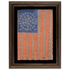38 Stars in a Medallion Configuration w/ 2 Outliers on a Antique American Flag