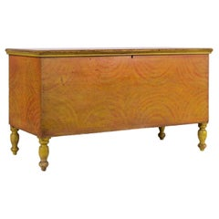 Pennsylvania Blanket Chest in Yellow & Orange Paint w/ Sponged Decoration