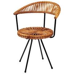 Dirk Van Sliedrecht Rattan Chair for Gebr Jonkers Noordwolde, 1950s