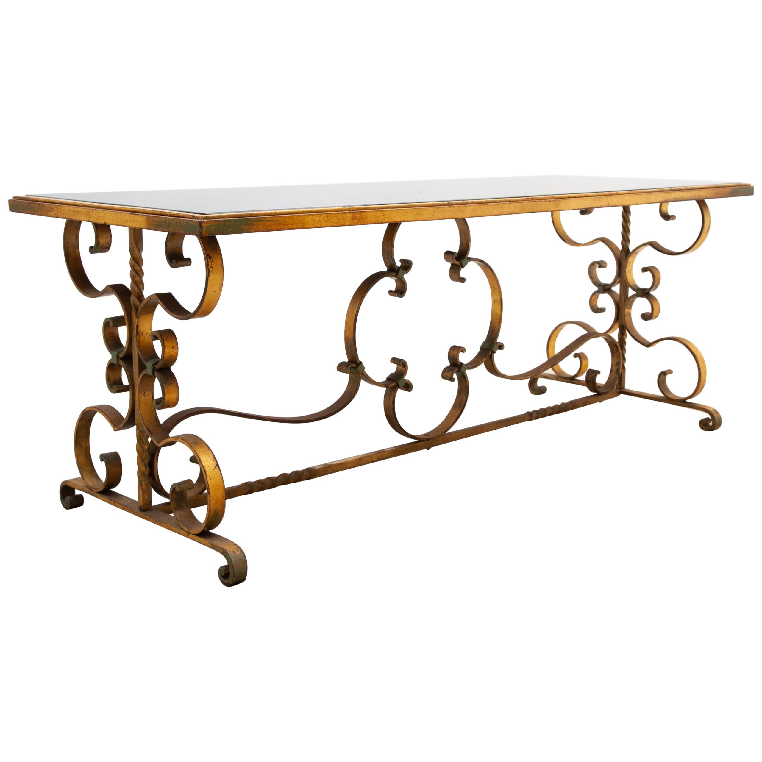 1930s Wrought Iron Art Deco Coffee Table, France