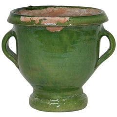 Small 19th Century French Green Glazed Earthenware Castelnaudary Planter