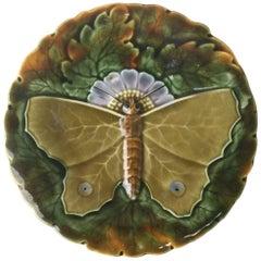 Majolica Green Butterfly Plate Josef Steidl Znaim, circa 1890