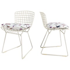 """Harry Bertoia Child's Chairs with Custom Stevie Howell """"Flower Homicide"""" Cushion"""