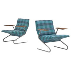 Georges van Rijck 'Cantilever' Armchairs in Blue Checkered Upholstery