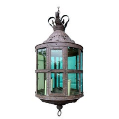 20th Century Jumbo Tole Four-Light Lantern, Green Glass