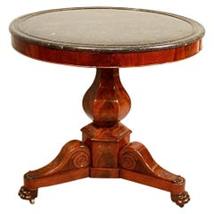 French 19th Century Charles X Mahogany Grey Marble Gueridon or Center Table