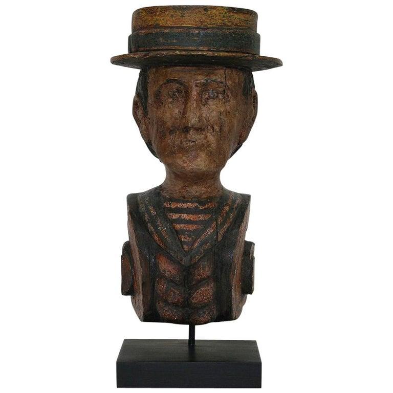 French Late 19th Century Folk Art Fair Ground Head For Sale