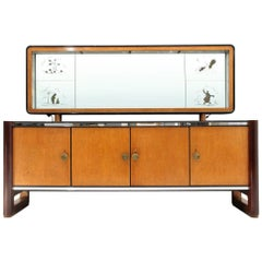 Italian Midcentury Sideboard with Mirror, 1950s