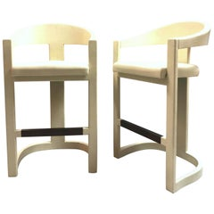 Karl Springer Pair of Leather Clad Onassis Bar Stools