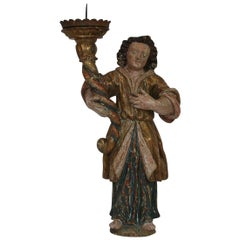 18th Century, Italian Carved Wood Baroque Angel with Candleholder