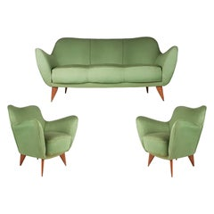 Set of Two Green Fabric and Wood 1950s Perla Armchairs with Sofa by G. Veronesi