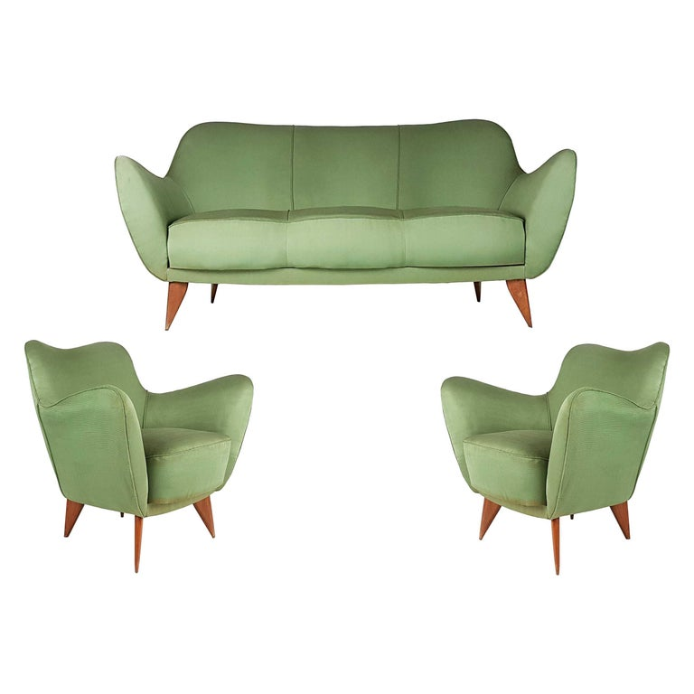 Set of Two Green Fabric and Wood 1950s Perla Armchairs with Sofa by G. Veronesi For Sale