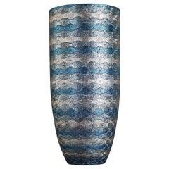 Large Japanese Contemporary Gilded Blue Ceramic Vase by Master Artist