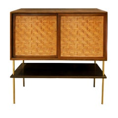 Harvey Probber Bar Cabinet in Mahogany with Inset Caned Doors, 1950s 'Signed'