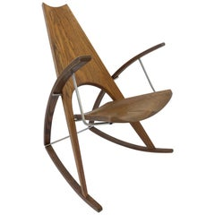 Studio Oak and Stainless Steel Rocking Chair by Leon Mayer
