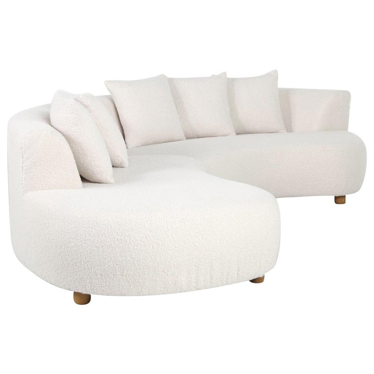 Unique Modular Curved Sofa With Teddy Fur Boucle And
