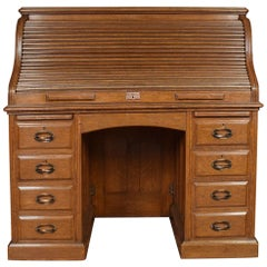 Oak Pedestal Roll Top Desk
