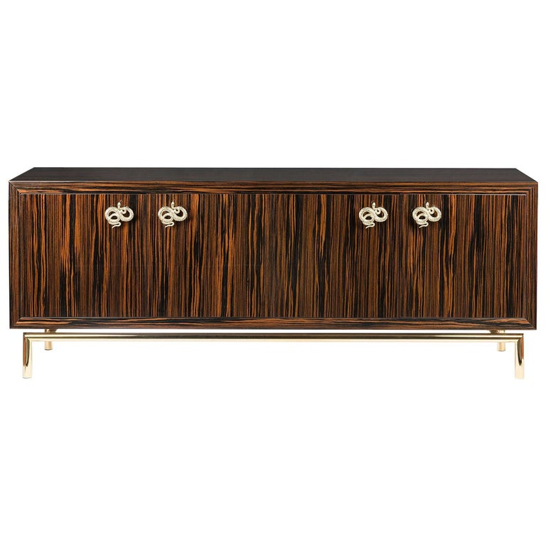 Sideboard Secret in Ebony and Galvanized Metal, Original Sin Collection, Italy For Sale