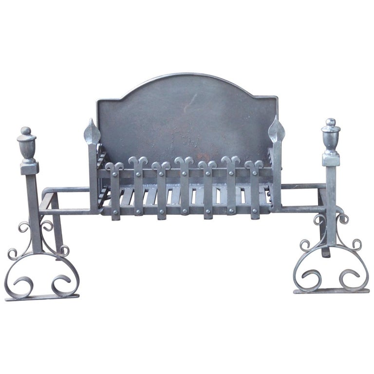 Large English Neo Gothic Fireplace Grate, Fire Grate For Sale