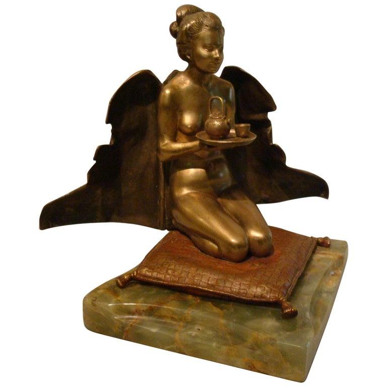 Japanese Geisha Bronze Metamorphic Erotic Figure, Made in Austria by F. Bergmann For Sale