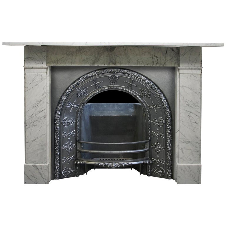 Antique Victorian 19th Century Carrara Marble Fireplace Surround For Sale