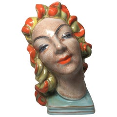 Expressive Art Deco Womans Ceramic Head from the Late 1930s Early 1940s