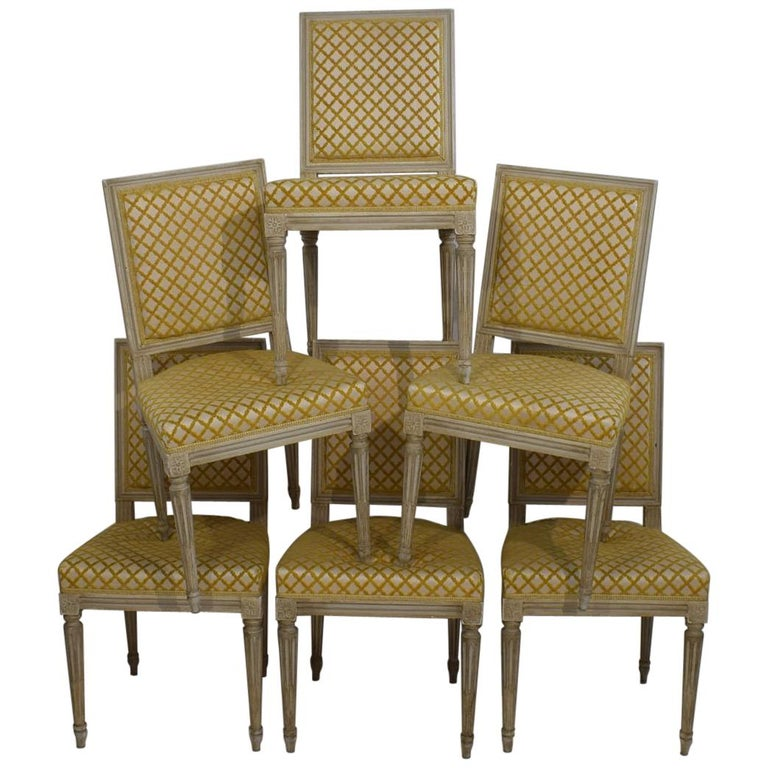 Set of 6 French Early 20th Century Louis XVI Style Dining Chairs For Sale