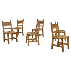 Rustic Set of Six Mid Century Modern Vintage Solid Oak, Rush Chairs, Cane