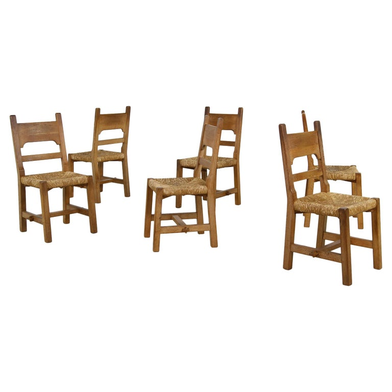 Rare Set of Six Mid Century Modern Vintage Solid Oak and Rush Chairs, Cane  For Sale