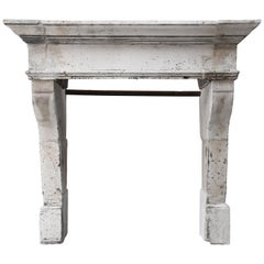 Antique Fireplace of French Limestone, Louis XIII Style, 19th Century