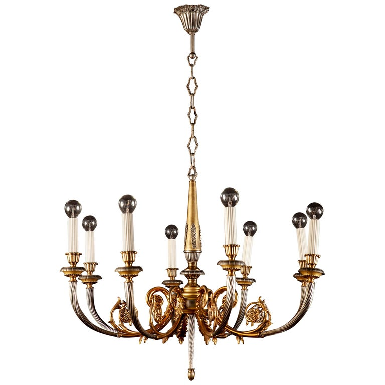 Italian Midcentury Brass and Chrome Chandelier, 1950s For Sale