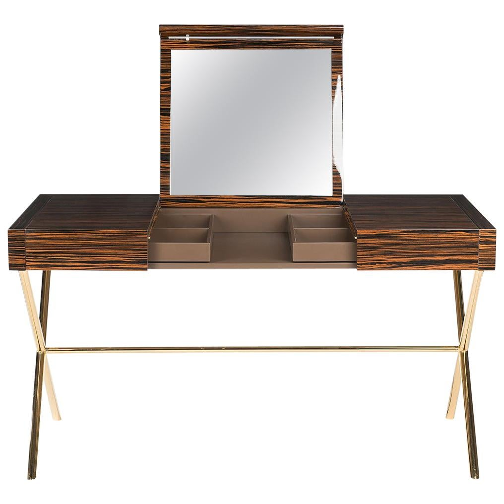 Vanity Desk Secret in Ebony and Galvanized Metal, Original Sin Collection, Italy