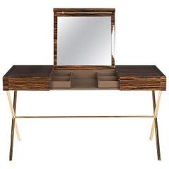 Vanity Desk Secret in Ebony and Galvanized Metal, Original Sin Collection, Italy