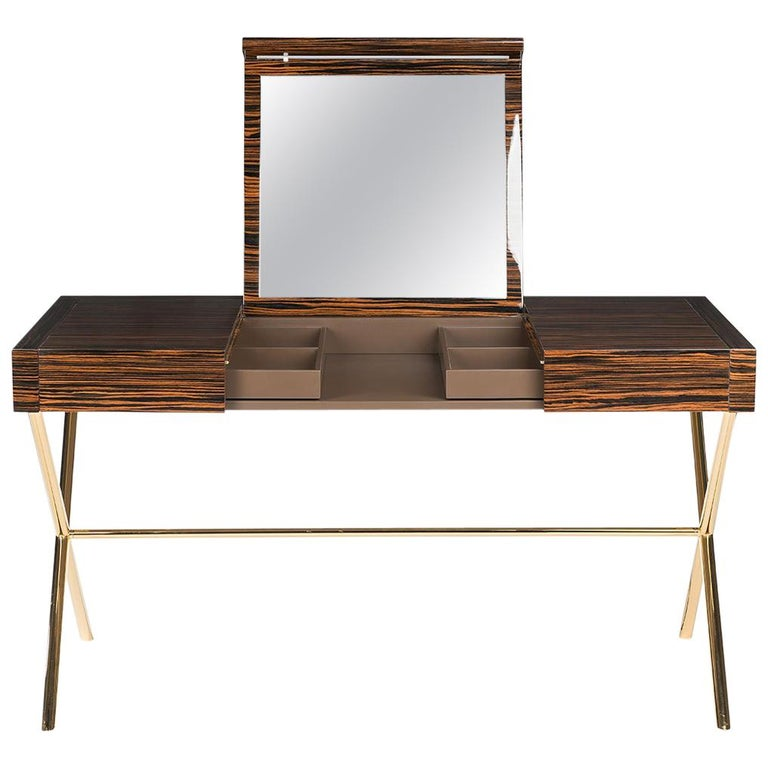 Vanity Desk Secret in Ebony and Galvanized Metal, Original Sin Collection, Italy For Sale