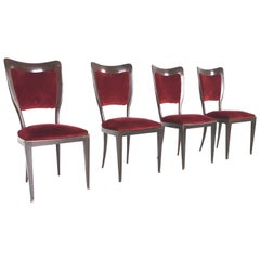Set of Four Mahogany and Red Velvet Chairs by Paolo Buffa, Italy, 1950s