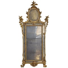 Large Italian, Naples, Rococo Carved Wood and Mecca Wall Mirror
