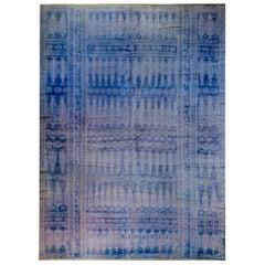 Vintage Blue and White Yadz Kilim