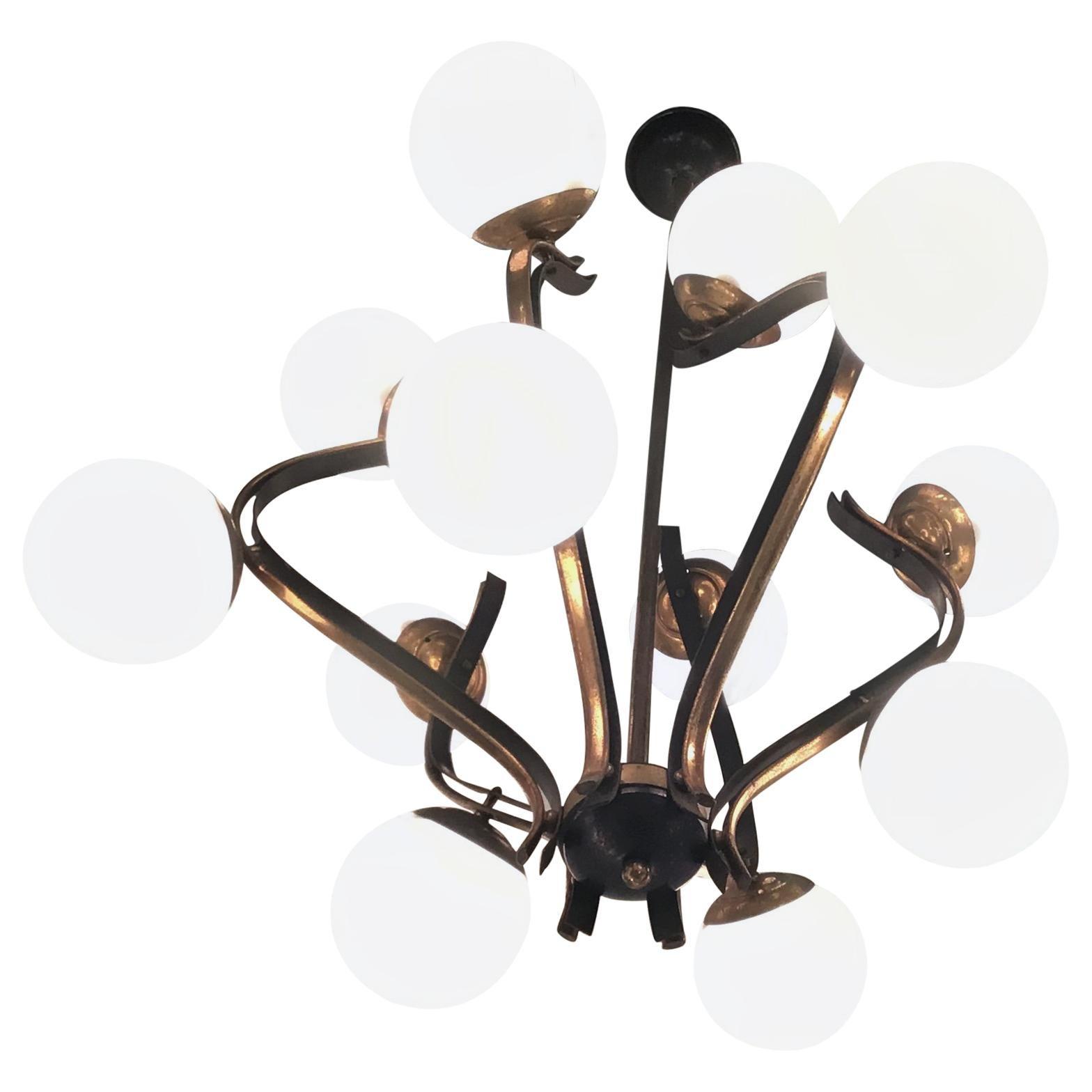 Chandelier 12 Lights Iron Brass Opalin Glass 1950, attributed to Stilnovo c 1955