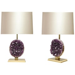 Pair of Natural Amethyst Lamps by Phoenix
