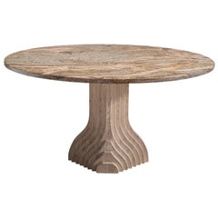 Architectural Dining Table in Travertine