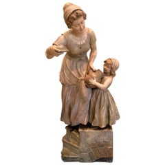 Antique French Terracotta Figurative Sculpture